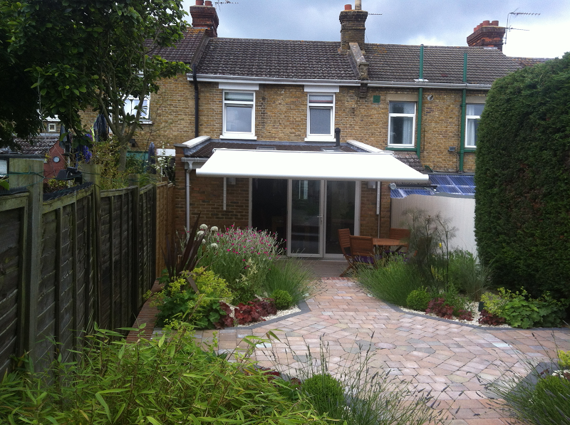 awning fitted to a terraced house