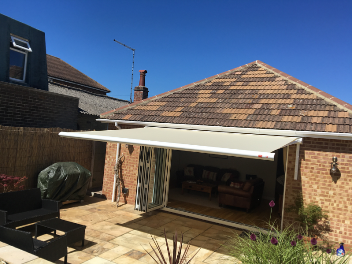 grey awning attached to home