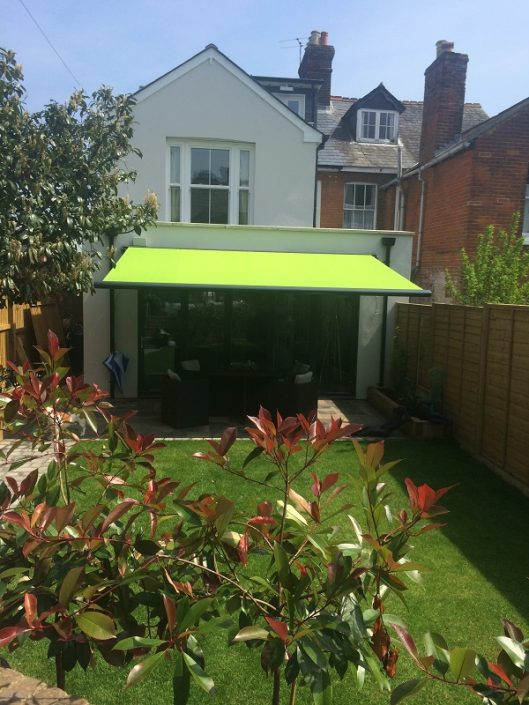 lime green awning- nstallation